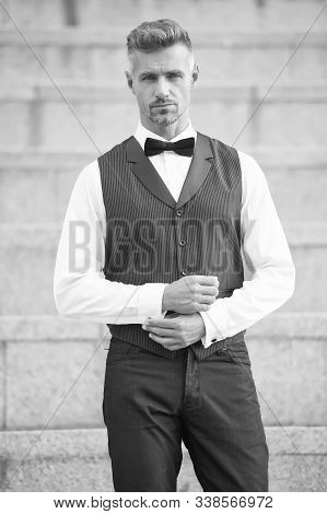He Got Style. Gentleman Modern Style. Guy Well Groomed Handsome Bearded Gentleman Macho Wear Shirt A