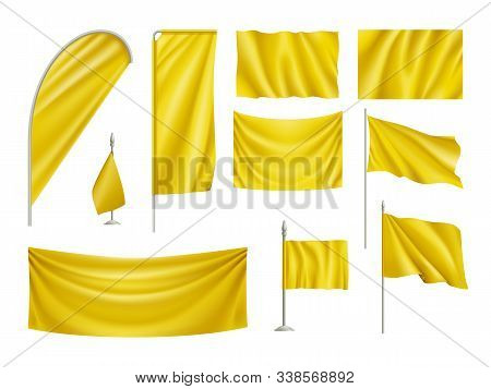 Yellow Rectangular Flags Set Isolated On White Background. Realistic Wavy Flag On Pole, Expo Banner,