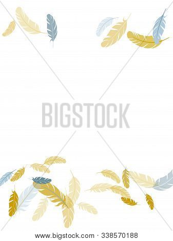 Majestic Silver Gold Feathers Vector Background. Plumage Trendy Fashion Shower Decor. Detailed Majes