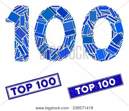 Mosaic 100 Digits Text Pictogram And Rectangle Top 100 Seal Stamps. Flat Vector 100 Digits Text Mosa