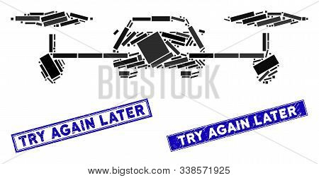 Mosaic Air Car Pictogram And Rectangle Try Again Later Stamps. Flat Vector Air Car Mosaic Pictogram