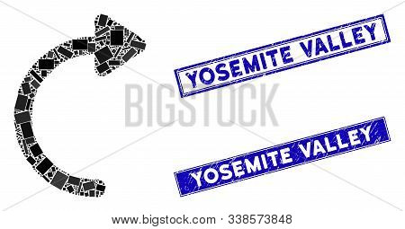 Mosaic Rotate Cw Pictogram And Rectangle Yosemite Valley Seals. Flat Vector Rotate Cw Mosaic Icon Of