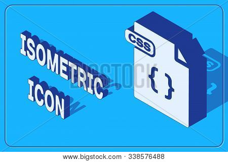 Isometric Css File Document. Download Css Button Icon Isolated On Blue Background. Css File Symbol.