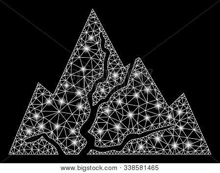 Glowing Mesh Damaged Rocks With Glare Effect. Abstract Illuminated Model Of Damaged Rocks Icon. Shin