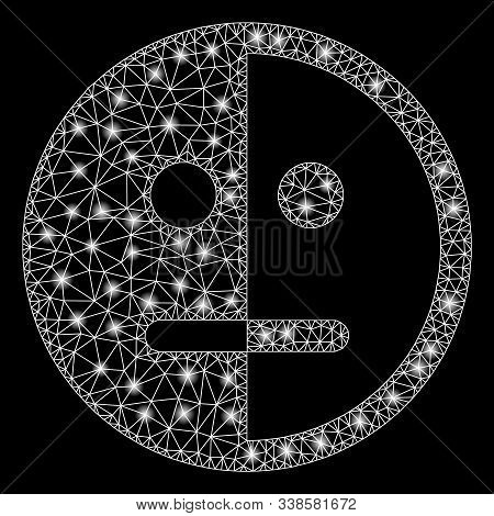 Glossy Mesh Bipolarity Face With Glare Effect. Abstract Illuminated Model Of Bipolarity Face Icon. S
