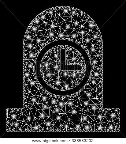 Glowing Mesh Expired Grave With Lightspot Effect. Abstract Illuminated Model Of Expired Grave Icon.