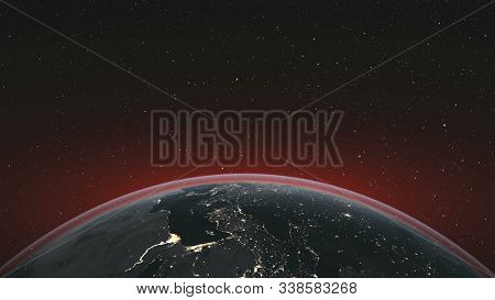 Earth Orbit Rotate Planet Skyline Starry Background. Celestial Interstellar Constellation Spin World Map Deep Space Exploration Concept 3D Animation