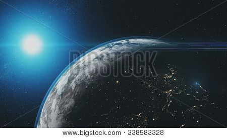 Epic Earth Rotate Sunlight Glow Starry Galaxy. Interstellar Asteroid Deep Outer Space Navigation Travel Universe Exploration Concept 3D Animation