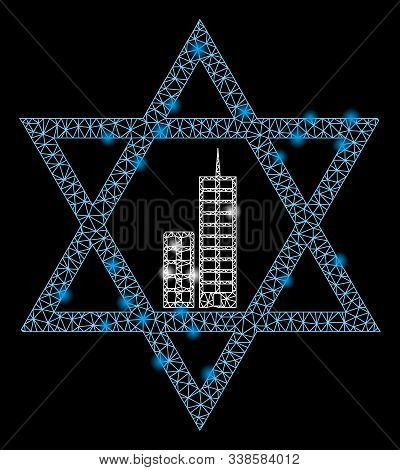 Glowing Mesh Jerusalem Star With Sparkle Effect. Abstract Illuminated Model Of Jerusalem Star Icon.
