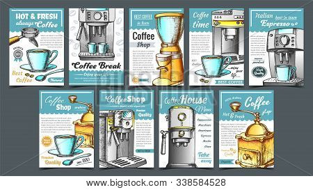 Coffee Machine, Holder And Cup Posters Set Vector. Portafilter, Manual Grinder And Mug With Hot Drin