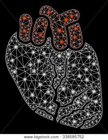 Glossy Mesh Heart Cancer With Glow Effect. Abstract Illuminated Model Of Heart Cancer Icon. Shiny Wi