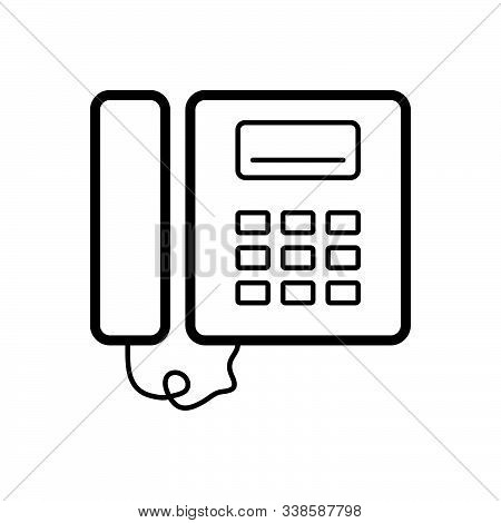 Black Line Icon For Pbx Flat Phone Voip