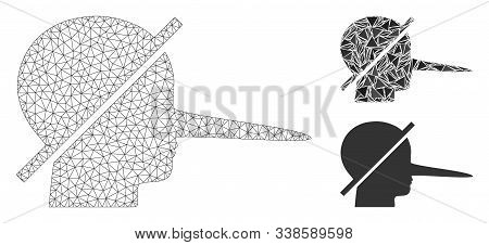 Mesh No Liars Model With Triangle Mosaic Icon. Wire Carcass Polygonal Mesh Of No Liars. Vector Compo