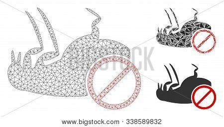 Mesh Stop Flea Model With Triangle Mosaic Icon. Wire Carcass Polygonal Mesh Of Stop Flea. Vector Com