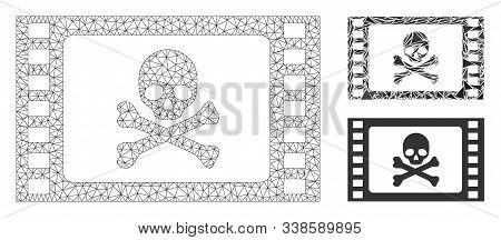 Mesh Stolen Movie Model With Triangle Mosaic Icon. Wire Frame Triangular Mesh Of Stolen Movie. Vecto