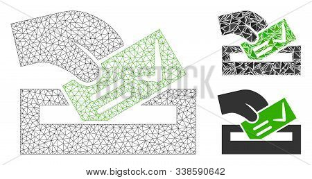Mesh Vote Here Model With Triangle Mosaic Icon. Wire Frame Triangular Mesh Of Vote Here. Vector Mosa