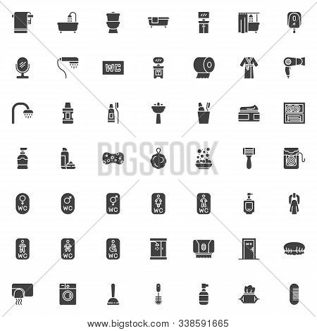 Bathroom Accessories Vector Icons Set, Modern Solid Symbol Collection Filled Style Pictogram Pack. S