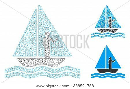 Mesh Aboard Yacht Model With Triangle Mosaic Icon. Wire Frame Polygonal Mesh Of Aboard Yacht. Vector