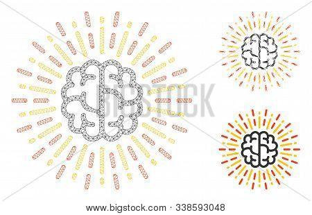 Mesh Brain Radiance Model With Triangle Mosaic Icon. Wire Frame Triangular Mesh Of Brain Radiance. V