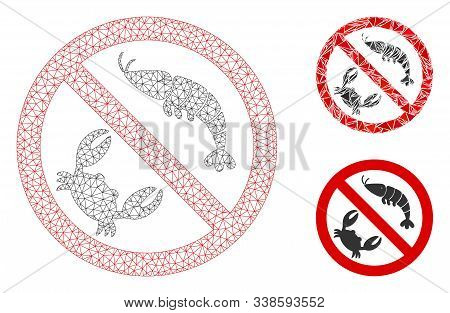 Mesh No Seafood Model With Triangle Mosaic Icon. Wire Frame Polygonal Mesh Of No Seafood. Vector Mos