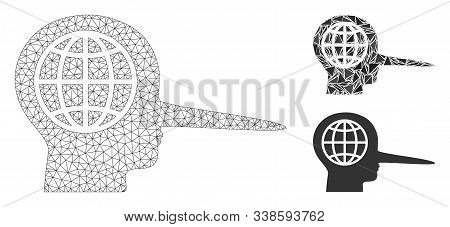 Mesh Global Liar Model With Triangle Mosaic Icon. Wire Frame Triangular Mesh Of Global Liar. Vector