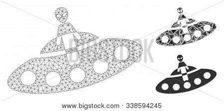 Mesh Aboard Ufo Model With Triangle Mosaic Icon. Wire Frame Polygonal Mesh Of Aboard Ufo. Vector Mos