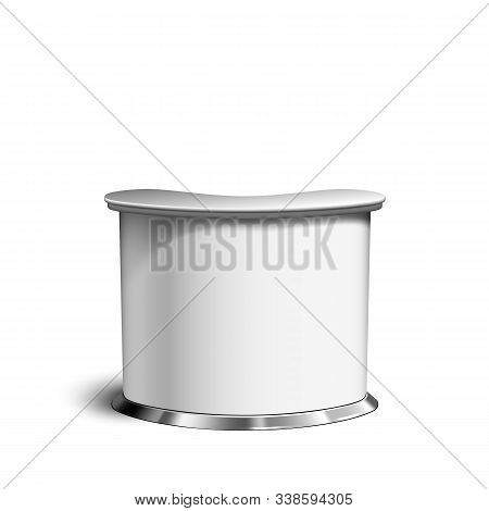 Counter Table, Blank Retail Trend Stand Vector. Exhibition, Commercial Marketing, Promotion Or Meeti