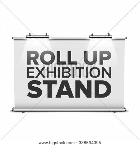 Roll Up Exhibition Stand With Backlighting Vector. Horizontal Stand With Lighting Lamps, Commercial