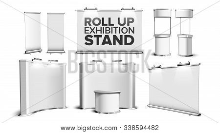 Roll Up Stand, Fair Desk, Counter Table Set Vector. Collection Of Exhibition Equipment, Blank Stand,