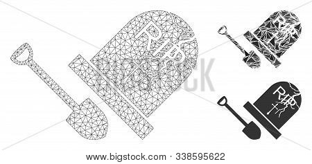 Mesh Grave Exhumation Model With Triangle Mosaic Icon. Wire Frame Polygonal Mesh Of Grave Exhumation