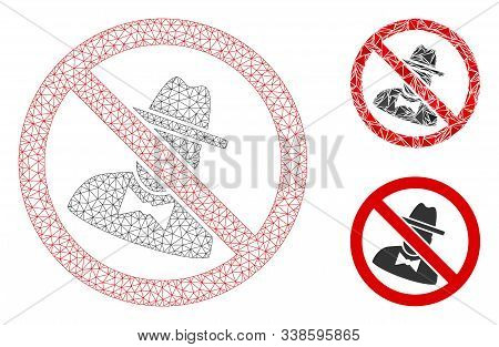 Mesh No Spies Model With Triangle Mosaic Icon. Wire Frame Triangular Mesh Of No Spies. Vector Mosaic