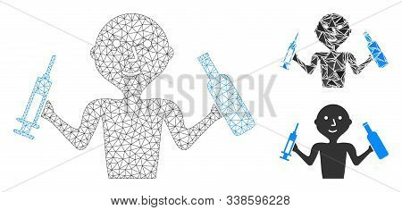 Mesh Addict Man Model With Triangle Mosaic Icon. Wire Carcass Triangular Mesh Of Addict Man. Vector