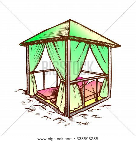 Deck Chairs Under Canopy On Beach Vintage Vector. Chairs Under Sunshade. Elegant Fashion And Idyllic