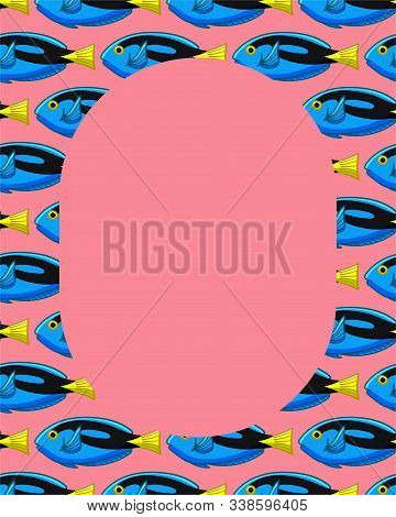 Frame With Surgeonfish Pattern On Pink Background