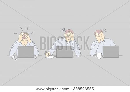 Professional Burnout, Workplace Exhaustion, Workers Stress Concept. Tired Top Manager Working With L