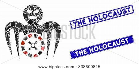Mosaic Roulette Spectre Monster Pictogram And Rectangular The Holocaust Seal Stamps. Flat Vector Rou