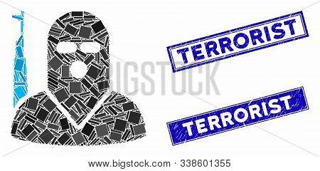 Mosaic Terrorist Icon And Rectangular Terrorist Rubber Prints. Flat Vector Terrorist Mosaic Icon Of