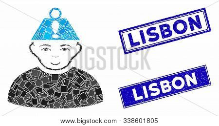 Mosaic Head Stress Pictogram And Rectangular Lisbon Stamps. Flat Vector Head Stress Mosaic Icon Of R