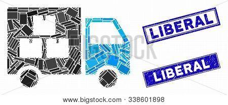 Mosaic Goods Transportation Car Pictogram And Rectangle Liberal Stamps. Flat Vector Goods Transporta
