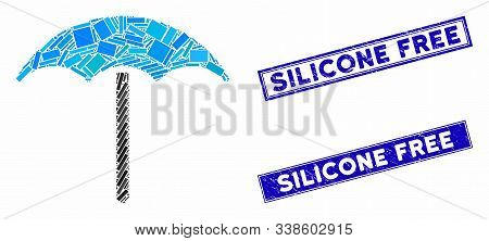 Mosaic Umbrella Pictogram And Rectangular Silicone Free Seal Stamps. Flat Vector Umbrella Mosaic Pic