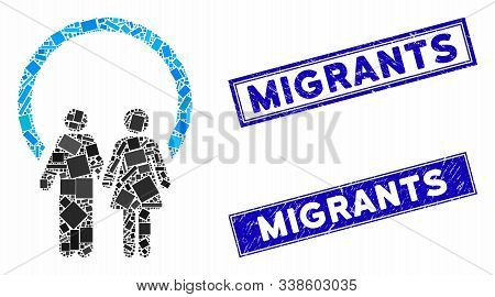 Mosaic Marriage Icon And Rectangle Migrants Rubber Prints. Flat Vector Marriage Mosaic Icon Of Rando
