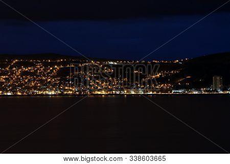 The Town Puno At Night. Lake Titicaca. Peru