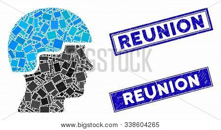 Mosaic Soldier Head Icon And Rectangular Reunion Seals. Flat Vector Soldier Head Mosaic Icon Of Rand