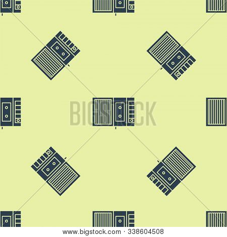 Blue Music Tape Player Icon Isolated Seamless Pattern On Yellow Background. Portable Music Device. V