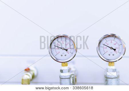 Air Pressure Gauge Behind Machines ; For Ensure Pressure From Main Pipe Of Factory ; Industrial Engi