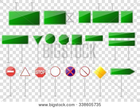 Big Set Of Road Signs Isolated On Transparent Background.blank Street Traffic And Road Signs Vector