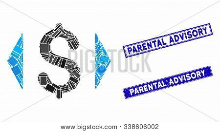 Mosaic Regulate Price Pictogram And Rectangle Parental Advisory Stamps. Flat Vector Regulate Price M
