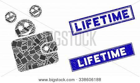 Mosaic Happy Cash Wallet Pictogram And Rectangle Lifetime Seals. Flat Vector Happy Cash Wallet Mosai
