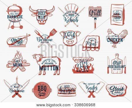 Barbecue Meat Food On Grill Sketches With Letterings, Bbq Party And Restaurant Vector Design. Sausag