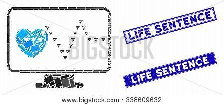 Mosaic Cardio Monitoring Icon And Rectangle Life Sentence Seals. Flat Vector Cardio Monitoring Mosai